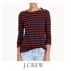 (2/$25) J. Crew Striped Top with Zipper Shoulders